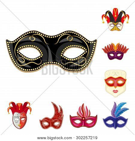 poster of Vector Illustration Of Carnival And Theatrical Sign. Set Of Carnival And Mystery Stock Vector Illust