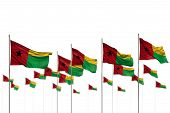 Cute Guinea-bissau Isolated Flags Placed In Row With Selective Focus And Place For Your Content - An poster