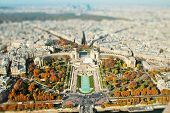 Selective Focus In Miniature Style. View From The Eiffel Tower On The Trocadero Gardens And The Chai poster