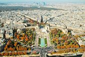 View From The Eiffel Tower On The Trocadero Gardens And The Chaillot Palace In Paris, A Large Increa poster