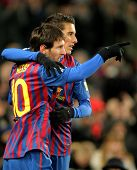 BARCELONA - FEB 4: Leo Messi with Cristian Tello of FC Barcelona celebrate goal during spanish leagu
