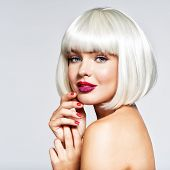 Beautiful woman with  bob hairstyle. beauty  fashion blonde model girl. hair concept Fashion portrai poster