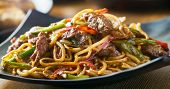 asian stir fried noodles with beef peppers and onions panorama poster