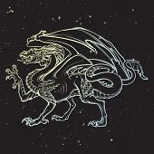 Dragon. Mythilogical Winged Creature. Sacred Geometry Sign And A Starry Nightsky Background. Vintage poster
