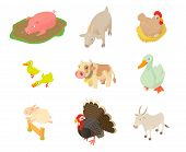Domestic Animals Icon Set. Cartoon Set Of Domestic Animals Icons For Web Design Isolated On White Ba poster