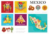 Flat Travel To Mexico Concept With Mexican Traditional Food Famous Sights Music And Culture Traditio poster