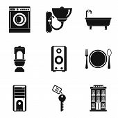 Domestic Work Icons Set. Simple Set Of 9 Domestic Work Icons For Web Isolated On White Background poster