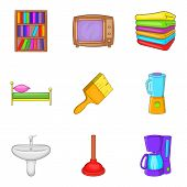 Internal Stuff Icons Set. Cartoon Set Of 9 Internal Stuff Icons For Web Isolated On White Background poster