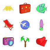 Sea Tourism Icons Set. Cartoon Set Of 9 Sea Tourism Icons For Web Isolated On White Background poster