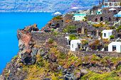 Santorini, Greece White Houses Architecture, Hotels With Caldera Blue Sea View And Flowers Blossom I poster