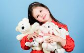 Little Girl Play With Soft Toy Teddy Bear. Sweet Childhood. Collecting Toys Hobby. Cherishing Memori poster