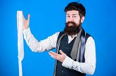 Man Bearded Hipster Hold Few Neckties. Guy With Beard Choosing Tie. Perfect Necktie. Types Of Neckti poster