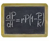population growth equation - white chalk writing on a small slate blackboard, isolated