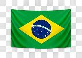 Hanging Flag Of Brazil. Federative Republic Of Brazil. Brazilian National Flag Concept. poster