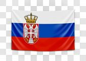 Hanging Flag Of Serbia. Republic Of Serbia. National Flag Concept. poster