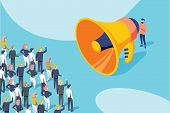 Isometric Vector Of A Businessman Or Politician With Megaphone Making An Announcement To A Crowd Of  poster