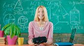 Confident Woman In Virtual Reality Headset Pointing In Air. Modern Education. Back To School. Virtua poster