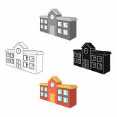 Architectural Building Of School, College. College Single Icon In Cartoon, Black Style Vector Symbol poster