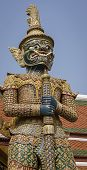 Giant Yaksha Demon Statue Guarding The Grand Place In Bangkok, Thailand poster