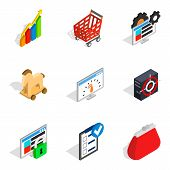 Statistical Returns Icons Set. Isometric Set Of 9 Statistical Returns Icons For Web Isolated On Whit poster