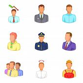 Best People Icons Set. Cartoon Set Of 9 Best People Icons For Web Isolated On White Background poster