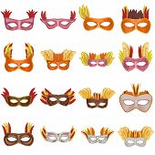 Carnival Mask Venetian Mockup Set. Realistic Illustration Of 16 Carnival Mask Venetian Mockups For W poster