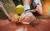 Tennis player on clay tennis court poster