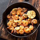 Roasted Shrimps With Lemon, Garlic And Herbs. Seafood, Shelfish. Shrimps Prawns Grilled With Spices, poster