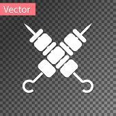 White Crossed Grilled Shish Kebab On Skewers Stick Icon Isolated On Transparent Background. Meat Keb poster