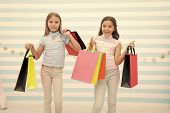 Girlish Happiness. Kids Happy Carry Bunch Packages. Shopping With Best Friend Concept. Girls Like Sh poster