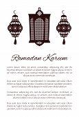 Ramadan Kareem Arabic Calligraphy And Traditional Lantern Islamic Greeting Card Design For Muslim Gr poster