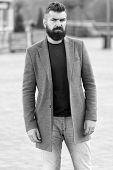 Menswear And Male Fashion Concept. Man Bearded Hipster Stylish Fashionable Coat. Comfortable And Coo poster