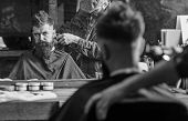 Barber With Clipper Trimming Hair On Nape Of Client. Reflexion Of Barber With Hair Clipper Works On  poster