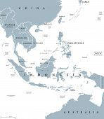 Southeast Asia, Political Map With Borders. Subregion Of Asia With Countries South Of China, East Of poster