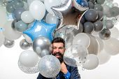 Birthday, Preparing To Party, Celebration. Happy Businessman With Helium Balloons. Bearded Man With  poster