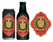 Vector Beer Label With A Wooden Barrel, Coat Of Arms, Wreath Of Wheat And Ribbon In Figured Frame On poster
