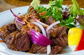 stock photo of wagyu  - wagyu beefsteak with lettuce - JPG