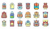 Backpack Icon Set. Cartoon Set Of Backpack Icons For Web Design Isolated On White Background poster