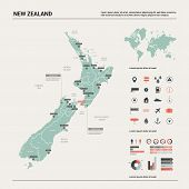 Vector Map Of  New Zealand. Country Map With Division, Cities And Capital Wellington. Political Map, poster