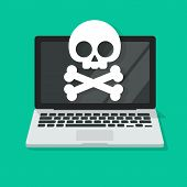 Computer Virus Or Malware Alert Vector Illustration, Flat Cartoon Laptop Damaged Or Spyware Error On poster
