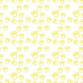 Backdrop With Silhouettes Of Cat Or Dog Footprint. Yellow Vector Illustration Animal Paw Track Patte poster