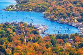 View From Mount Battie Overlooking Camden Harbor, Maine. Beautiful Autumn Foliage Colors In October. poster