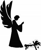 picture of christmas baby  - silhoette illustration of baby jesus and an angel - JPG