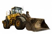 stock photo of construction machine  - A large construction bulldozer tractor excavator isolated on white - JPG