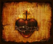 stock photo of sacred heart jesus  - The Sacred Heart of Jesus on parchment  - JPG