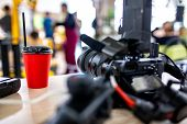 Behind The Scenes Of Video Production Or Video Shooting. The Concept Of Production Of Video Content  poster