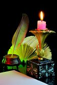 Retro Writing Pen, Candlelight Literary Composition And Education. Ancient Creative Workshop, Sign S poster