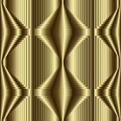 3d Gold Textured Geometric Vector Seamless Pattern. Golden Ornamental Abstract Striped Background. S poster