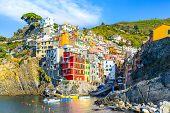 Riomaggiore Of Cinque Terre, Italy - Traditional Fishing Village In La Spezia, Situate In Coastline  poster