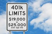 Retirement 401k Contributions Limits On A Usa Highway Speed Road Sign With Sky Background 3d Illustr poster